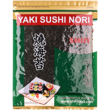 YAKI SUSHI NORI sušené mořské řasy 20ks (50g)